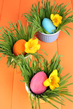 Easter eggs in bowls with grass on orange wooden table close up photo
