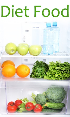Open refrigerator with vegetarian food Stock Photo - 19046677
