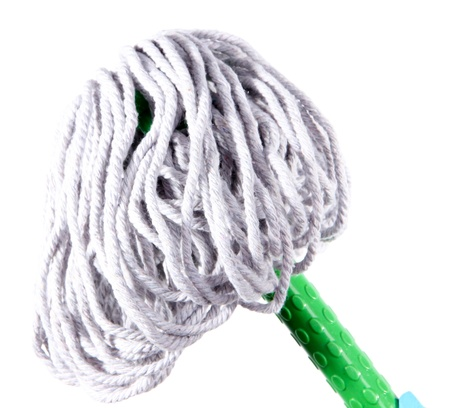 office cleanup: Mop for floor isolated on white