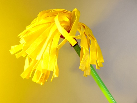 office cleanup: Yellow mop for floor on light background