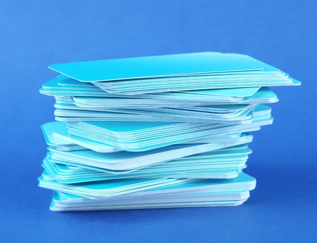 Stack of business cards, on color background Stock Photo - 19046383