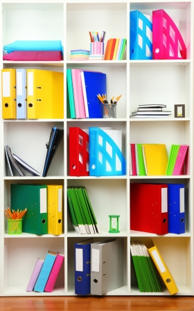 White office shelves with different stationery, close up Stock Photo - 19056099