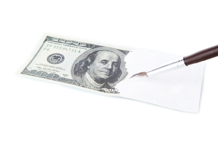 counterfeiting: Making fake dollar isolated on white Stock Photo