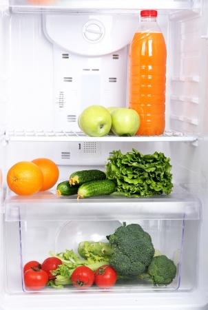 Open refrigerator with vegetarian (diet) food Stock Photo - 19099793