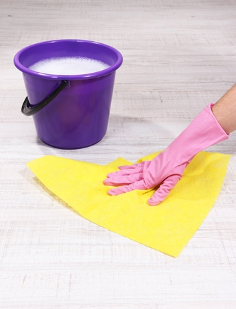 Washing the floor and all floor cleaning Stock Photo - 19099724