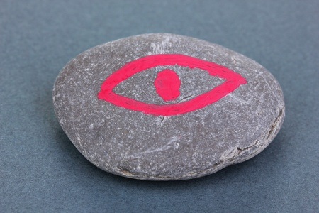Fortune telling  with symbols on stone on grey background Stock Photo - 19101445