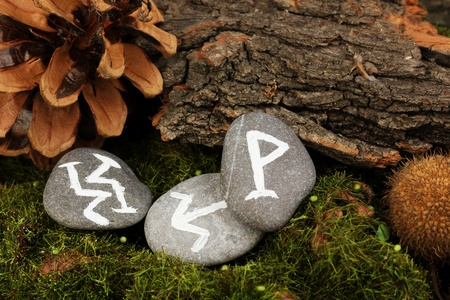 Fortune telling  with symbols on stones close up Stock Photo - 19101458