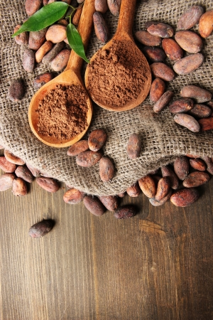 Cocoa powder in spoons and cocoa beans on wooden background photo