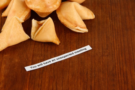 Fortune cookies on wooden table photo