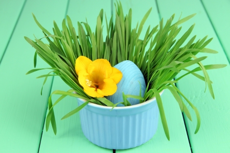 Easter egg in bowl with grass on green wooden table close up photo