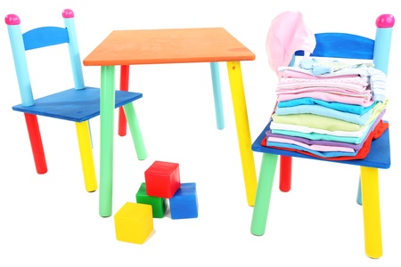 Small and colorful table and chairs for little kids isolated on white Stock Photo - 19144782