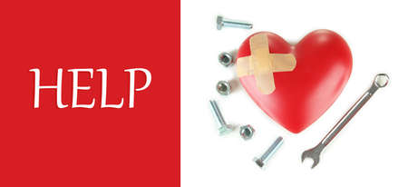 Heart and tools. Concept: Renovation of heart photo