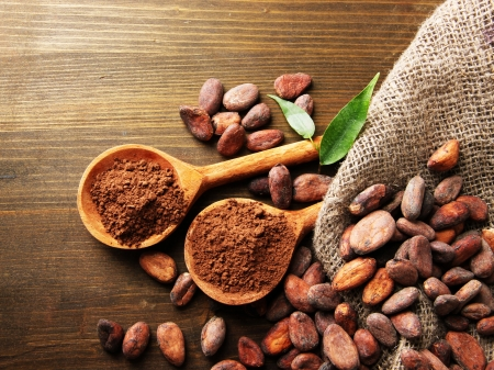 cocoa bean: Cocoa powder in spoons and cocoa beans on wooden background Stock Photo