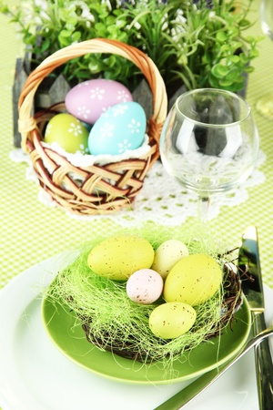 Easter table setting, close up photo