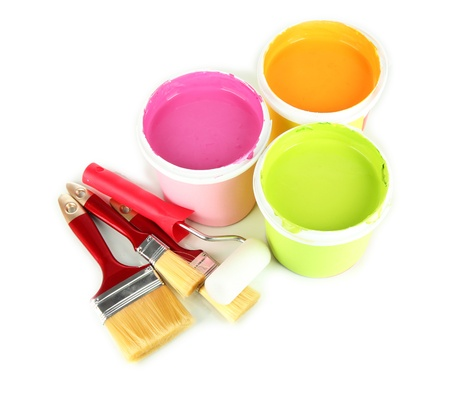 Set for painting: paint pots, brushes, paint-roller isolated on white Stock Photo - 19243841