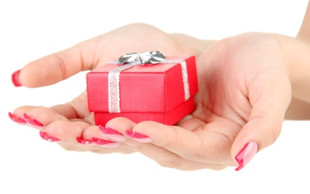 Female hands with gift box, isolated on white photo