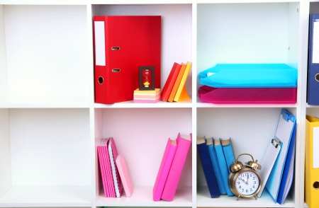 White office shelves with different stationery, close up Stock Photo - 19270930