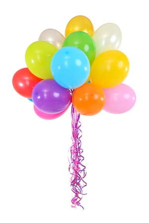 balloon background: Many bright balloons isolated on white