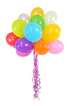 globos de cumplea�os: Muchos globos brillantes aislados en blanco Foto de archivo