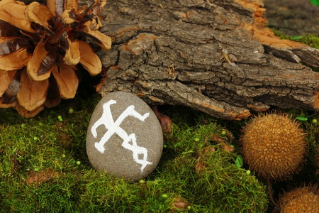 Fortune telling  with symbols on stone close up Stock Photo - 19271634