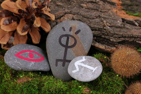 Fortune telling  with symbols on stones close up Stock Photo - 19271628