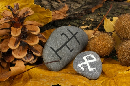 Fortune telling  with symbols on stones close up Stock Photo - 19271617
