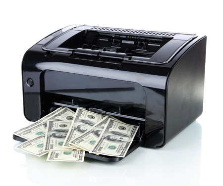 laundering: Printer printing fake dollar bills isolated on white Stock Photo