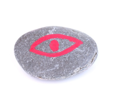 Fortune telling  with symbols on stone isolated on white photo