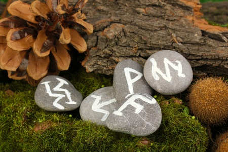 Fortune telling  with symbols on stones close up Stock Photo - 19279051