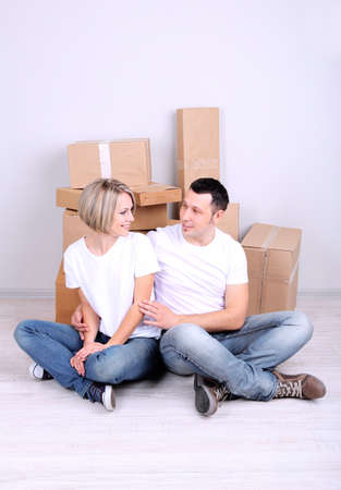 Young couple moving in new house Stock Photo - 21517223