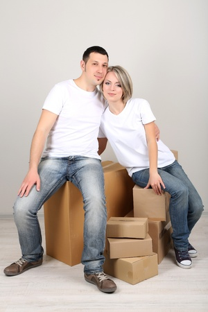 Young couple moving in new house photo