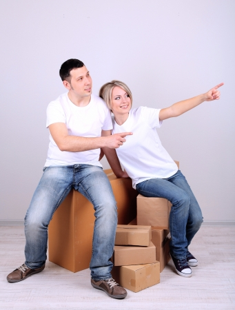 Young couple moving in new house Stock Photo - 21517221