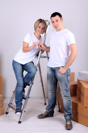 Young couple moving in new house Stock Photo - 21517256