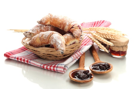 Taste croissants in basket and jam isolated on white Stock Photo - 19301592