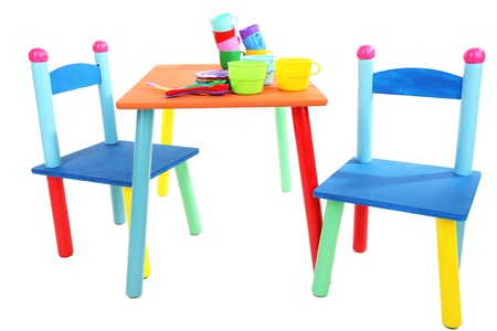 Small and colorful table and chairs for little kids isolated on white Stock Photo - 19300840