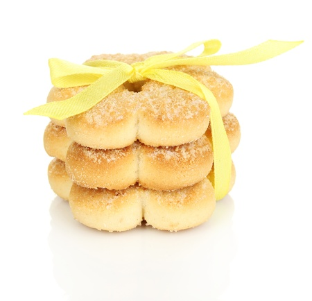 Sweet cookies tied with yellow ribbon isolated on white Stock Photo - 19300831