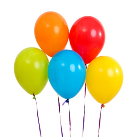 party balloons: Five bright balloons on light background