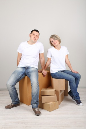 Young couple moving in new house Stock Photo - 21517749