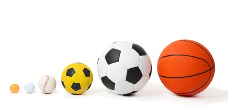 Different balls, isolated on white photo