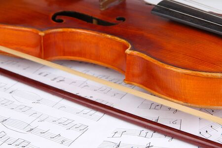 Classical violin on notes Stock Photo - 19303130