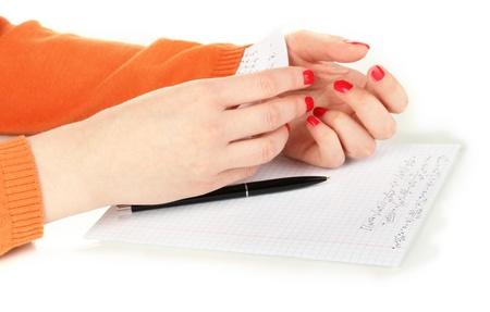 write off: Write off exam isolated on white