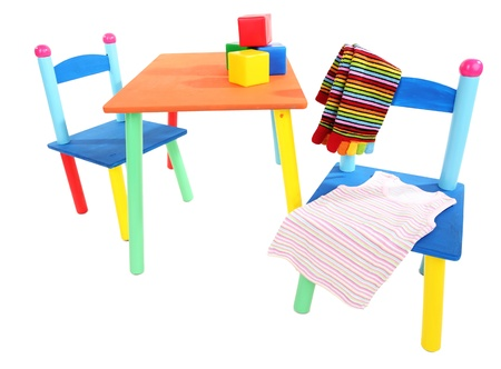 Small and colorful table and chairs for little kids isolated on white Stock Photo - 19344484