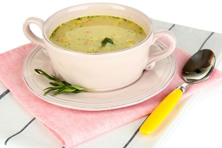 nourishing: Nourishing soup with vegetables in pan isolated on white Stock Photo