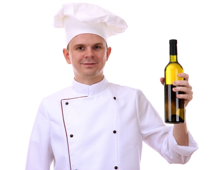 culinary skills: portrait of chef with wine isolated on white
