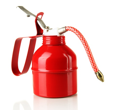 Red oil can, isolated on white Stock Photo - 19357910