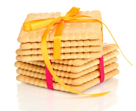 Sweet cookies tied with colorful ribbons isolated on white Stock Photo - 19455554