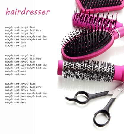 Comb brushes and Hair cutting shears, isolated on white Stock Photo - 19412527