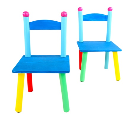 Small and colorful chairs for little kids isolated on white Stock Photo - 19411428