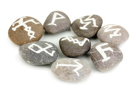 Fortune telling  with symbols on stones isolated on white Stock Photo - 19412262