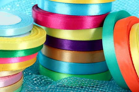 Bright ribbons close-up photo